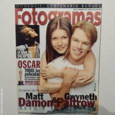 Cine: FOTOGRAMAS AÑO 53 NÚMERO 1877 MARZO 2000 MATT DAMON, GWYNETH PALTROW, DICAPRIO, AMERICAN BEAUTY. Lote 197442411