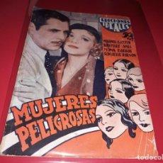 Cine: MUJERES PELIGROSAS. ARGUMENTO NOVELADO DE PELICULA CON FOTOGRAFIAS.1938. Lote 197900660
