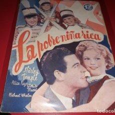 Cine: LA POBRE NIÑA RICA CON SHIRLEY TEMPLE. ARGUMENTO DE PELICULA CON FOTOGRAFIAS.1939. Lote 197901037