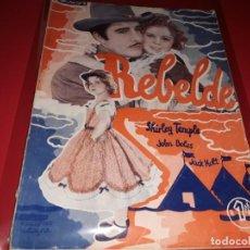 Cine: REBELDE CON SHIRLEY TEMPLE. ARGUMENTO DE PELICULA CON FOTOGRAFIAS.1939. Lote 197901625