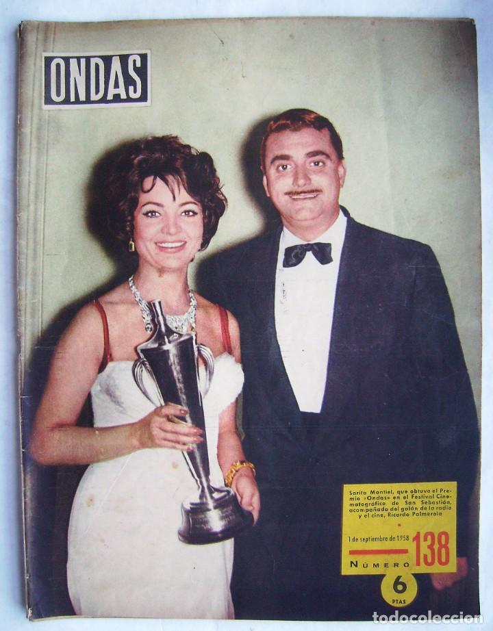 SARA MONTIEL. ELIZABETH TAYLOR. REVISTA ONDAS 1958. (Cine - Revistas - Ondas)
