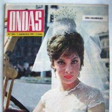 Cine: GINA LOLLOBRÍGIDA, BRIGITTE BARDOT. EL CORDOBÉS. REVISTA ONDAS 1961.. Lote 201329710