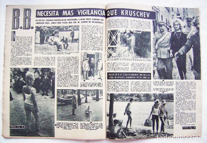 Cine: GINA LOLLOBRÍGIDA, BRIGITTE BARDOT. EL CORDOBÉS. REVISTA ONDAS 1961. - Foto 2 - 201329710