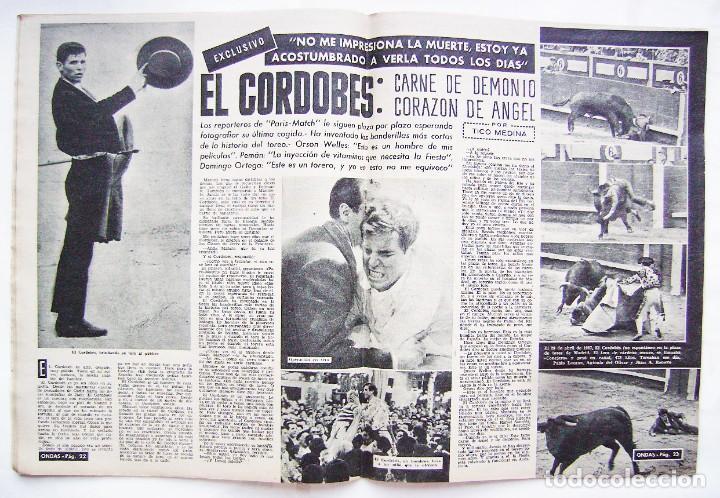 Cine: GINA LOLLOBRÍGIDA, BRIGITTE BARDOT. EL CORDOBÉS. REVISTA ONDAS 1961. - Foto 3 - 201329710