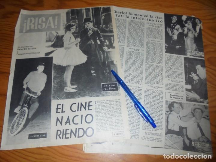 RECORTE PRENSA : EL CINE COMICO : CHARLOT, HAROLD LLOYD, DANNY KAYE..... RADIOCINEMA , FBRO 1962 (Cine - Revistas - Radiocinema)