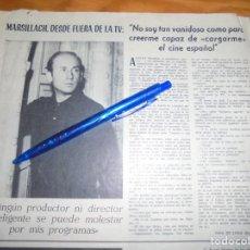 Cine: RECORTE PRENSA : ADOLFO MARSILLACH. RADIOCINEMA , FBRO 1962. Lote 202687221