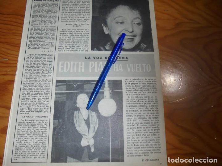 RECORTE PRENSA : EDITH PIAF, LA VOZ DEL SENA, HA VUELTO . RADIOCINEMA , FBRO 1962 (Cine - Revistas - Radiocinema)