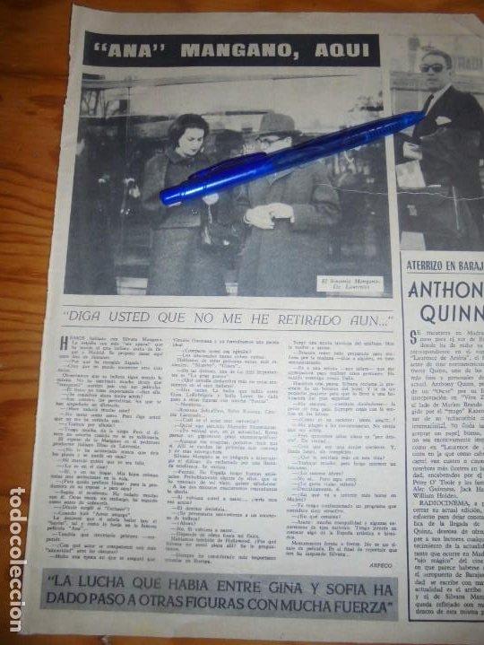 RECORTE PRENSA : SILVANA MANGANO EN ESPAÑA . RADIOCINEMA , FBRO 1962 (Cine - Revistas - Radiocinema)