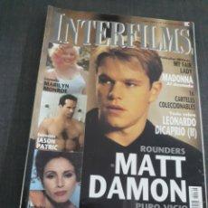 Cine: REVISTA INTERFILMS N° 124 MATT DAMON . MARILYN MONROE .. Lote 203788208