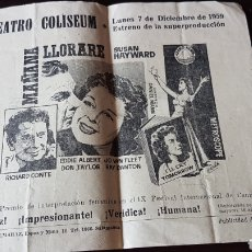Cine: ANUNCIO 1959 TEATRO COLISEUM SALAMANCA. Lote 203916551