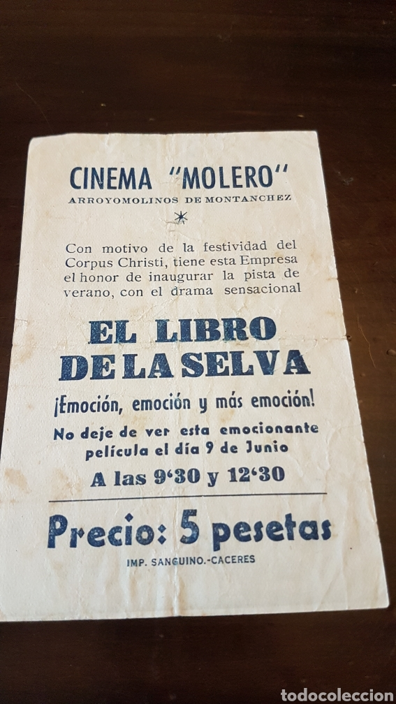 PROGRAMA DE MANO CINEMA MOLERO ARROYOMOLINOS DE MONTANCHEZ .EL LIBRO DE LA SELVA (Cine - Reproducciones de carteles, folletos...)
