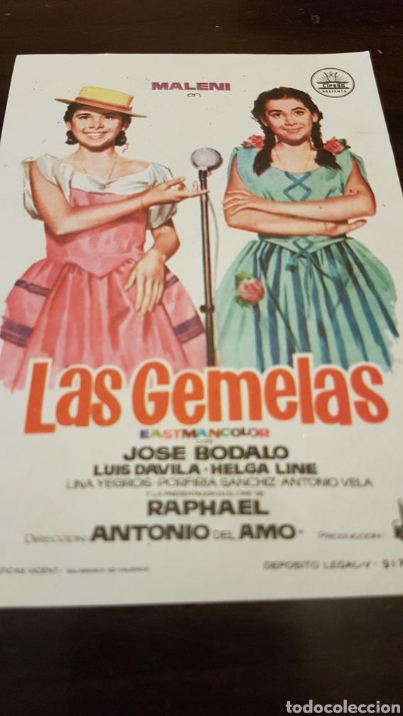 PROGRAMA DE MANO LAS GEMELAS CON LA COLABORACIÓN DE RAPHAEL (Cine - Reproducciones de carteles, folletos...)