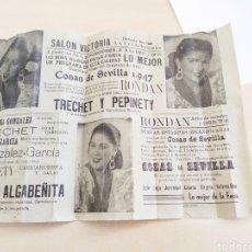 Cine: CARTEL DE FERIA ESPECTÁCULO COSAS DE SEVILLA 1947,FORMATO 32*22. PRECIO PROVISIONAL.. Lote 206436406