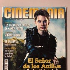 Cine: CINEMANIA N° 87 (2002). EL SEÑOR DE LOS ANILLOS (POSTER DOBLE DESPLEGABLE), HARRY POTTER,.... Lote 206869198
