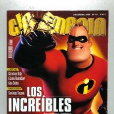 Cine: CINEMANIA N° 111 (2004). LOS INCREÍBLES, CHRISTIAN BALE, GISELE BUNDCHEN, ANA BELÉN, SANTIAGO SEGURA. Lote 206874317