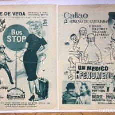 Cine: 2 HOJAS PUBLICIDAD CINE: BUS STOP Y UN MÉDICO FENÓMENO (1958) ¡ORIGINALES! COLECCIONISTA. Lote 207449292