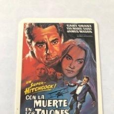 """Cinema: CALENDARIO DE BOLSILLO. REPRODUCCIÓN CARTEL CINE """"CON LA MUERTE EN LOS TALONES"""" AÑO 1994. Lote 208079883"""