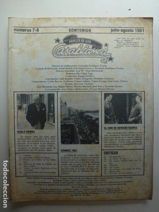 PAPELES DE CINE CASABLANCA. Nº 7-8. JULIO AGOSTO 1981. (Cine - Revistas - Papeles de cine)