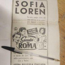 Cine: SUCEDIO EN ROMA SOFIA LOREN CINE FLORIDA MAYORES.. Lote 210472135