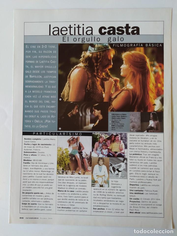 Cine: LAS ESTRELLAS DEL 2000 - FICHA Y POSTER DE LAETITIA CASTA - AGUILA AMSTEL - RECORTE FOTOGRAMAS - Foto 2 - 210484587
