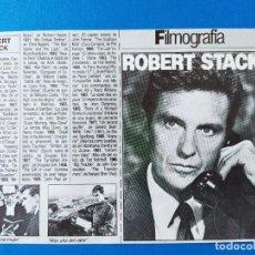 Cine: ROBERT STACK - FICHA/FILMOGRAFIA - RECORTE FOTOGRAMAS. Lote 210487487
