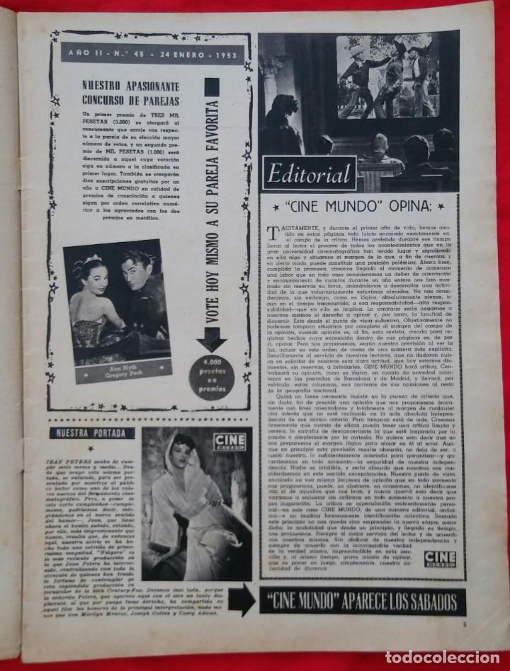 Cine: CINE MUNDO - ENERO 1953 Nº 45 - JEAN PETERS - RICHARD WIDMARK - PJRB - Foto 2 - 210940910