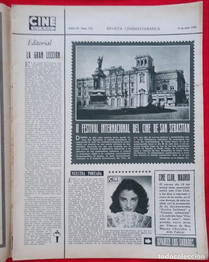 Cine: CINE MUNDO - JULIO 1955 - MARA LUZ GALICIA - CRISTINA SONDERBAUM - PJRB - Foto 2 - 210943650