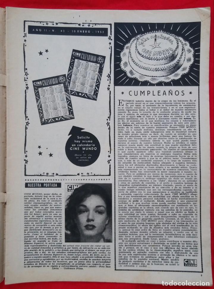 Cine: CINE MUNDO - ENERO 1953 Nº 43 - SIMONE SIGNORET - MERRY ANDERS, GLORIA GORDON - PJRB - Foto 2 - 210947581