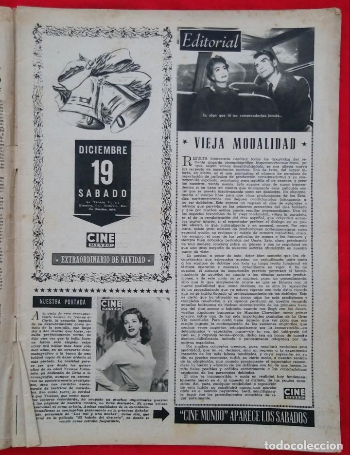 Cine: CINE MUNDO - ENERO 1953 Nº 91 - IVONNE DE CARLO - SUZAN BALL - PJRB - Foto 2 - 210948376