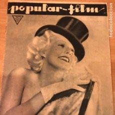 Cine: REVISTA POPULAR FILM NOV 1933 JEAN HARLOW.LUPE VÉLEZ.DON QUIJOTE PABST.ELISSA LANDI FREDRIC MARCH. Lote 211433566