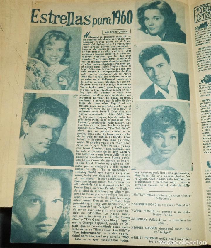 ESTRELLAS DE HOLLYWOOD PARA 1960 HALYLEY MILLS JANE FONDA STEPHEN BOYD CON 6 IMAGENES ANTIGUA HOJA (Cine - Revistas - Otros)