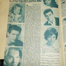 Cine: ESTRELLAS DE HOLLYWOOD PARA 1960 HALYLEY MILLS JANE FONDA STEPHEN BOYD CON 6 IMAGENES ANTIGUA HOJA. Lote 213239058