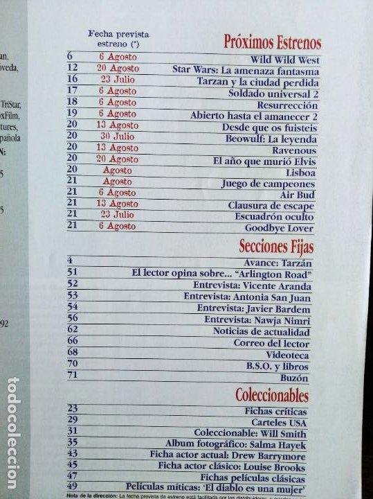 Cine: ACCION Nº 87 DE 1999- STAR WARS EPISODIO I LA AMENAZA FANTASMA- WILD WILD WEST- NAJWA NIMRI- BARDEM - Foto 2 - 213632632
