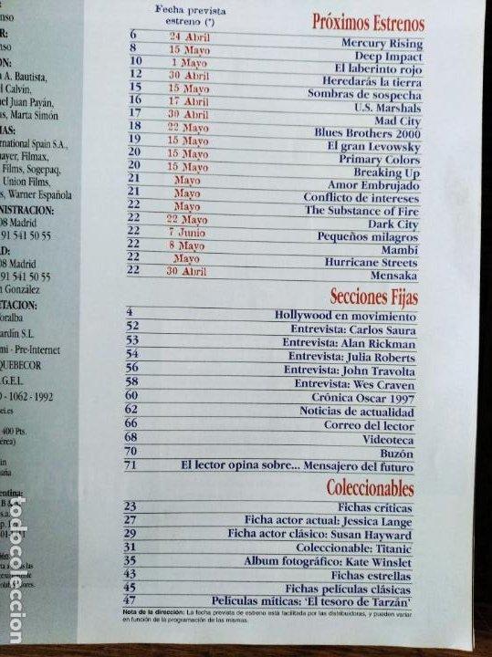 Cine: ACCION Nº 72 DE 1997- TITANIC- JESSICA LANGE- JULIA ROBERTS- JOHN TRAVOLTA- BRUCE WILLIS- WES CRAVEN - Foto 2 - 213633967
