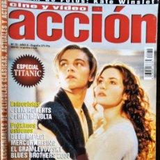 Cine: ACCION Nº 72 DE 1997- TITANIC- JESSICA LANGE- JULIA ROBERTS- JOHN TRAVOLTA- BRUCE WILLIS- WES CRAVEN. Lote 213633967