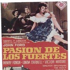 Cinema: PASION DE LOS FUERTES. Lote 214122650