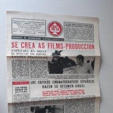 Cine: AS FILMS, PERIODICO DE INFORMACIÓN CINEMATOGRÁFICA Nº 27 - ENERO 1958. Lote 214293853