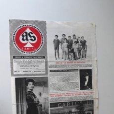 Cine: AS FILMS, PERIÓDICO DE INFORMACIÓN CINEMATOGRÁFICA Nº 43 - SEPTIEMBRE 1961. Lote 214294321