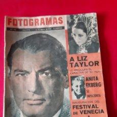 Cine: FOTOGRAMAS 31/08/1962 N? 718. GREGORI PECK , LIZ TAYLOR. Lote 216494691