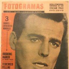 Cine: REVISTA FOTOGRAMAS Nº 750 ABRIL 1963 ROBERT WAGNER FELLINIOSCAR 1962. Lote 217530648