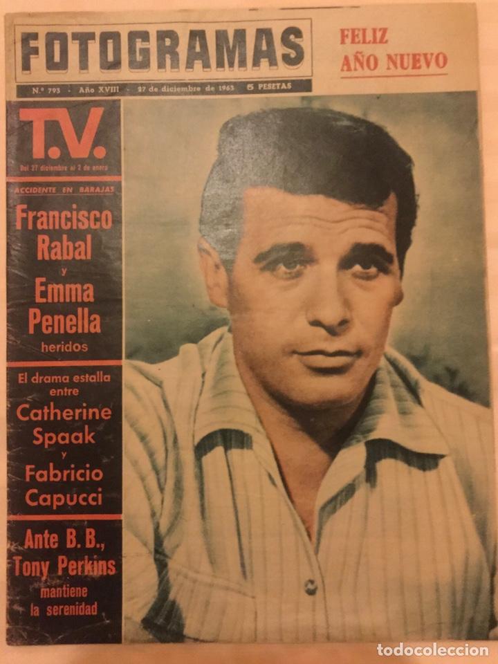 FOTOGRAMAS Nº 793 DICIEMBRE 1963 FRANCISCO PACO RABAL GIANNA MARIA CANALE B.B. TONY PERKINS (Cine - Revistas - Fotogramas)