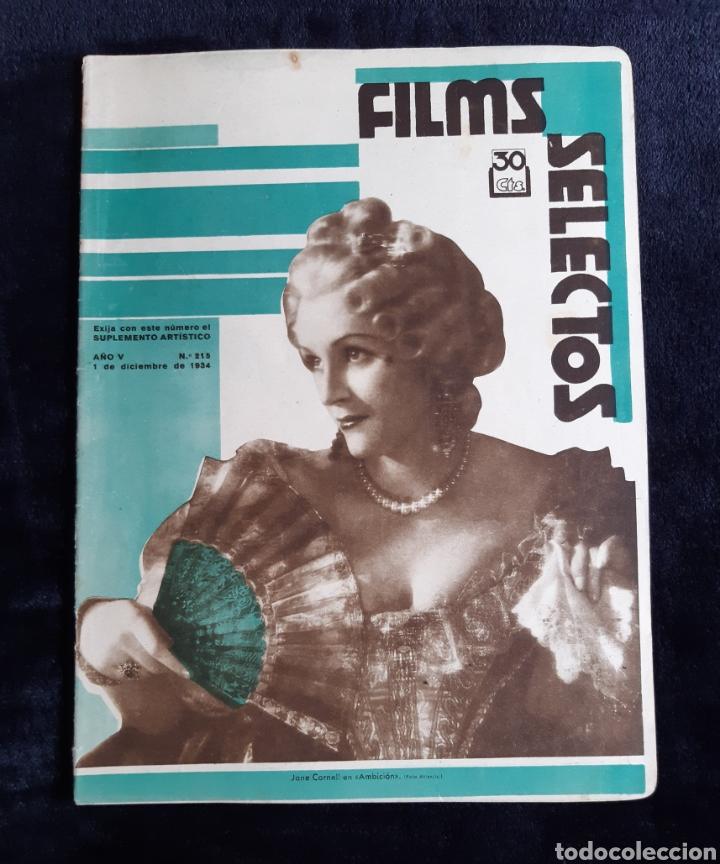 REVISTA FLIMS SELECTOS CON PORTADA DE JANE CORNELL DE 1934. (Cine - Revistas - Films selectos)