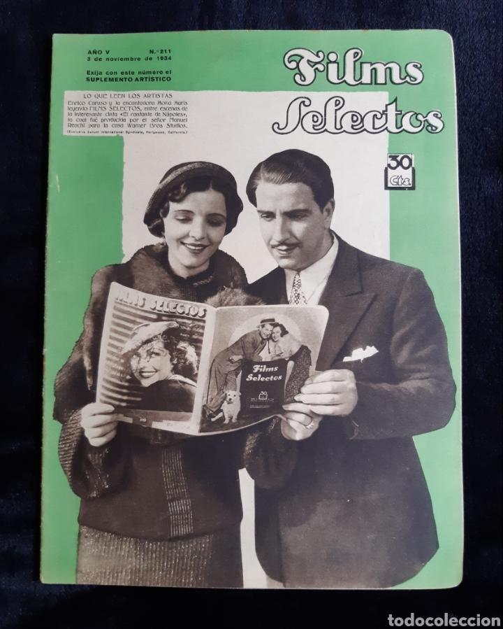 REVISTA FLIMS SELECTOS CON PORTADA DE ENRICO CARUSO Y MONA MARIS DE 1934. (Cine - Revistas - Films selectos)