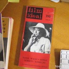 Cine: REVISTA DE CINE. REVISTA FILM IDEAL Nº 210. 1969 RAOUL WALSH ASTRUC ROSSELLINI. Lote 218473796