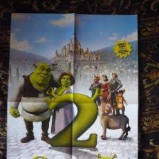 Cinema: CARTEL DOBLE 40X60 APROX DE LAS PELICULAS: SPIDERMAN 2 Y SHREK 2. Lote 219689045