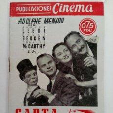 Cine: PUBLICACIONES CINEMA Nº79 - CARTA DE PRESENTACIÓN. Lote 221373682