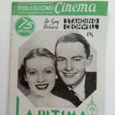 Cine: PUBLICACIONES CINEMA Nº 72 - LA ÚLTIMA SINGLADURA. Lote 221374025