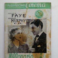 Cine: PUBLICACIONES CINEMA Nº 64 - MILLONARIO A SUELDO. Lote 221374563