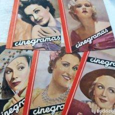 Cine: COLECCION 5 REVISTAS, CINEGRAMAS. DOLORES DEL RIO, JEAN ROGERS, DANIELA PAROLA, GAIL PATRICK, MONA G. Lote 224204743