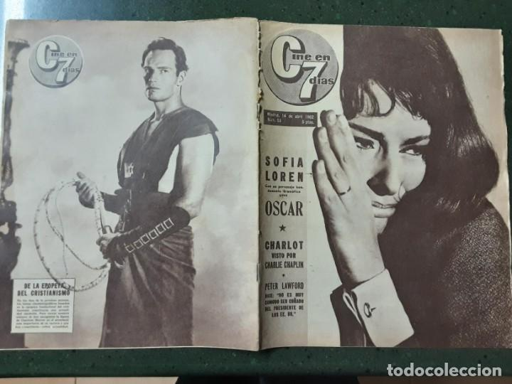 REVISTA CINE EN 7 DIAS, N⁰ 53 ABRIL 1962 SOFIA LOREN, CHARLOT VISTO POR CHAPLIN (Cine - Revistas - Cine en 7 dias)